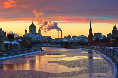 russian church: Sunset over Moscow river, Moscow