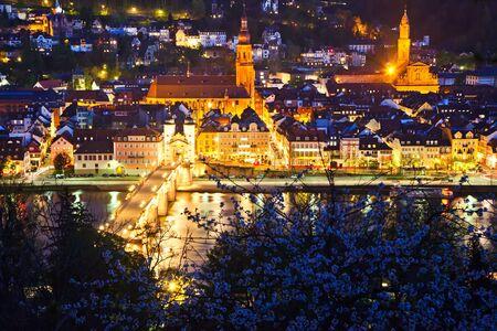 Heidelberg at night, Germany Stock Photo