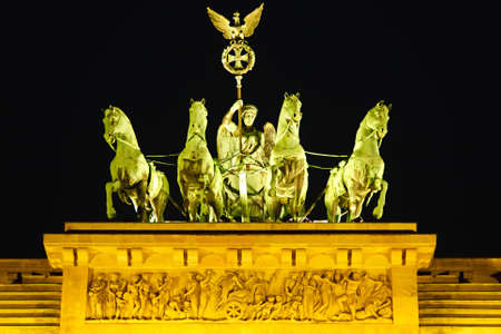 brandenburg: Quadriga on Brandenburg gate in Berlin Stock Photo
