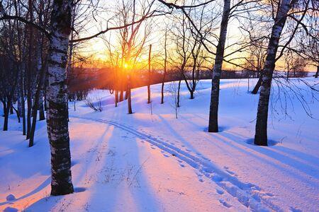 enero: Puesta de sol de invierno hermoso Foto de archivo
