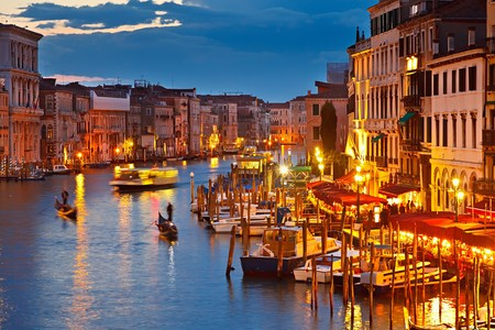 venice canal: Grand Canal at night, Venice