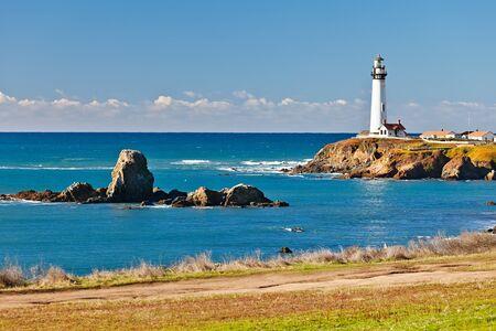 coastline: Pigeon Point Lighthouse on California coast