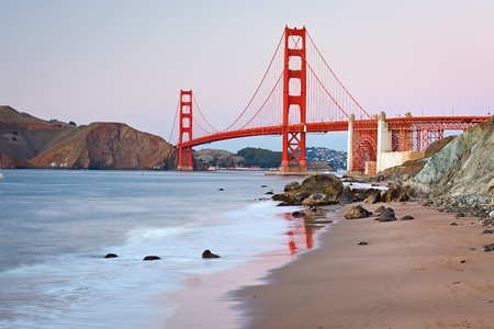 Golden Gate Bridge after sunset, San Francisco photo