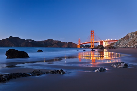 panoramic beach: Golden Gate Bridge after sunset, San Francisco