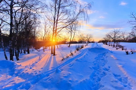 winter road: Winter sunset