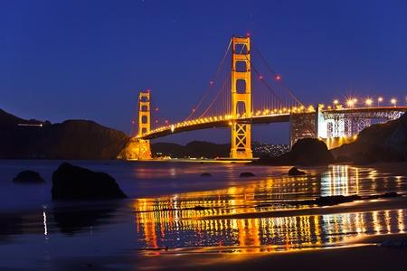 Golden Gate Bridge at night, San Francisco photo