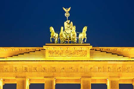 quadriga: Quadriga on Brandenburg gate in Berlin Stock Photo