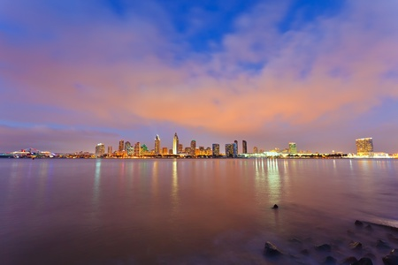 commercial dock: San Diego at night