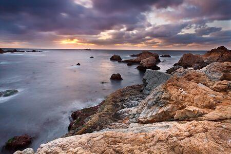 storm waves: Pacific coast at sunset, California, US Stock Photo