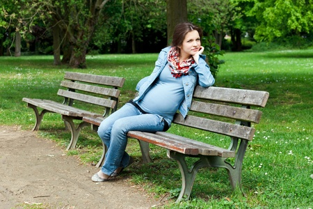 Beautiful pregnant woman in the park Stock Photo - 8603446