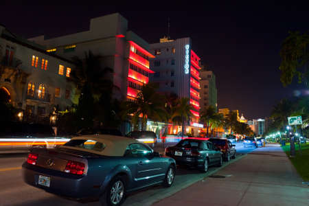 tourist attractions: MIAMI BEACH - JULY 2009: Night view on Ocean drive, Miami Beach, Florida. Art Deco Night-Life in South Beach is one of the main tourist attractions in Miami.