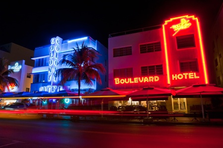 MIAMI BEACH - JULY 2009: Night view on Ocean drive, Miami Beach, Florida. Art Deco Night-Life in South Beach is one of the main tourist attractions in Miami.