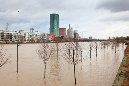 main river: FRANKFURT- JANUARY 15 2011: Flood in Frankfurt am Main due to extremely high water in Main river.