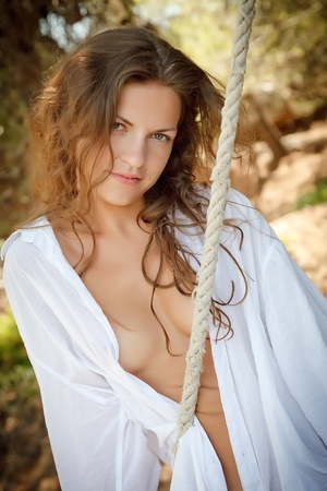 Romantic outdoor portrait of beautiful young woman Stock Photo - 8761971