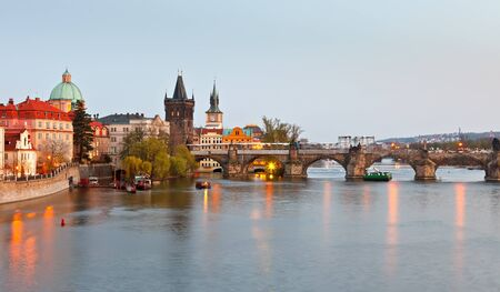 czech culture: The Charles bridge in Prague, Czech Republic Stock Photo