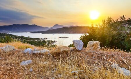 aegean sea: Sunset in Greece, Poros