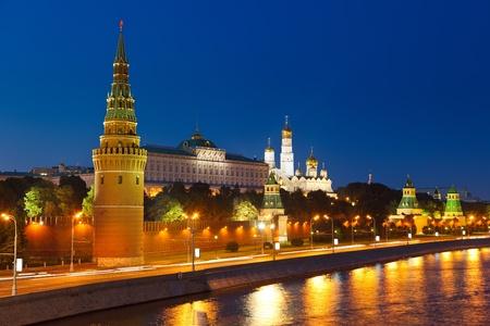 kremlin: Kremlin van Moskou in de nacht