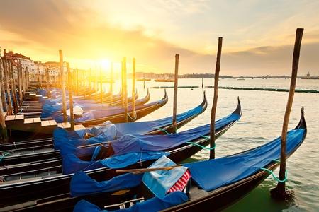 gondola: Sunrise in Venice Stock Photo