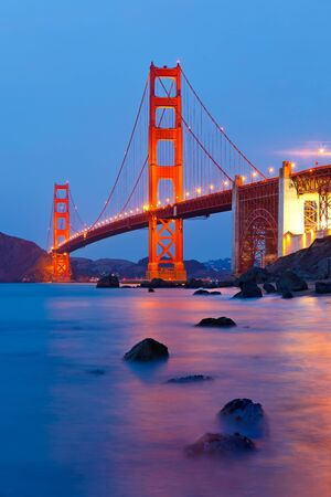 bay: Golden Gate Bridge after sunset, San Francisco