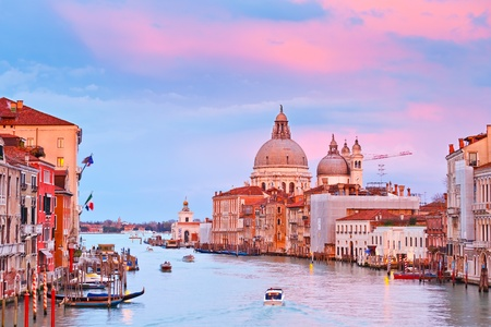 on the canal: Grand canal at sunset, Venice Stock Photo