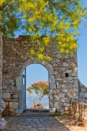 green door: Gate in Palamidi fortress, Nafplio, Greece