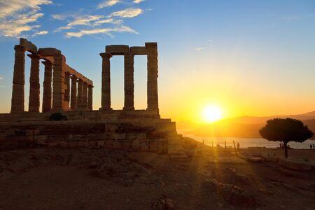 Ruins of Poseidon temple, Cape Sounion, Greece  photo