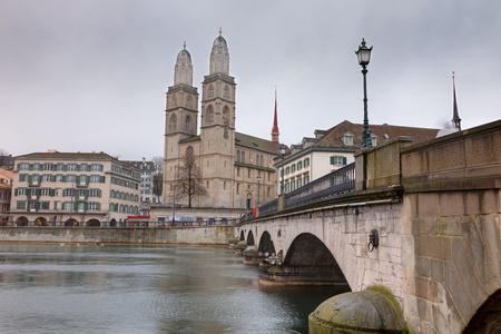 grossmunster cathedral: Zurich city, Switzerland. Grossmunster cathedral.
