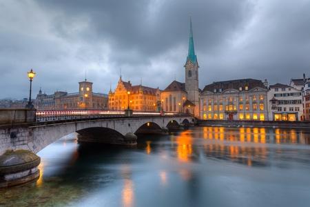 zurich: Zurich at dusk Stock Photo