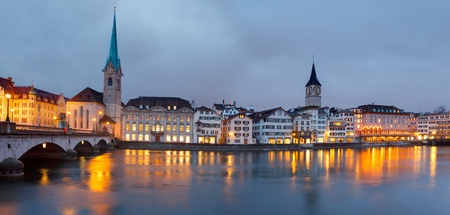Zurich at dusk Stock Photo
