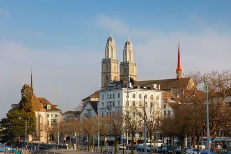 grossmunster cathedral: Grossmunster cathedral in Zurich Stock Photo