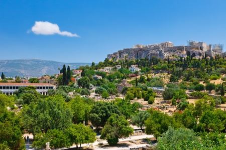 View on Acropolis from ancient agora, Athens, Greece photo