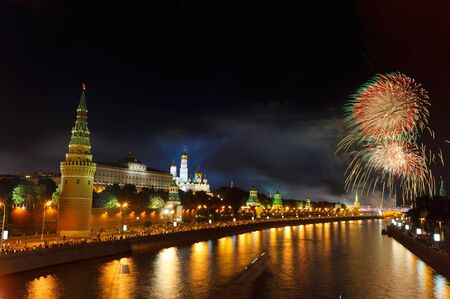 moscow city: Fireworks over Moscow Kremlin