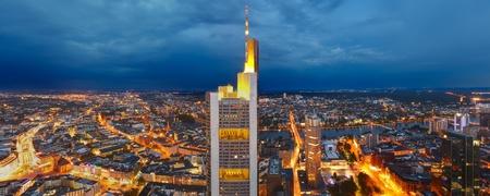 Panoramic view of Frankfurt am Main at night Stock Photo - 9696189