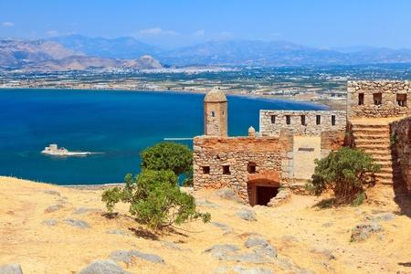 The ruins of Palamidi castle in Nafplion, Greece
