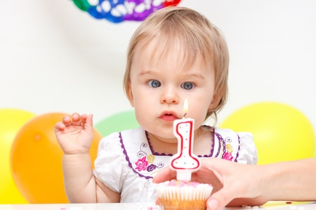Celebrating first birthday photo