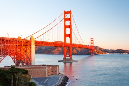 Golden Gate Bridge at sunrise photo