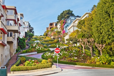residential street: Lombard Street in San Francisco Stock Photo