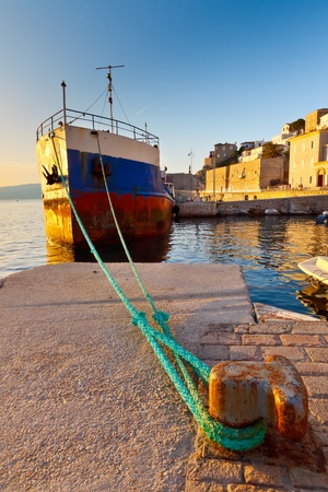 aegean sea: Old ship in the port of Hydra