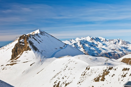 european alps: Ski slopes in French Alps Stock Photo