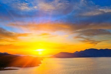 sunset over mediterranean sea photo