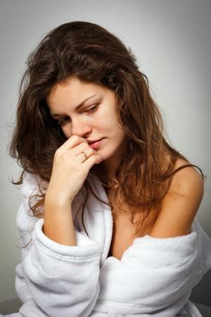 mirada triste: Mujer sufren de depresión
