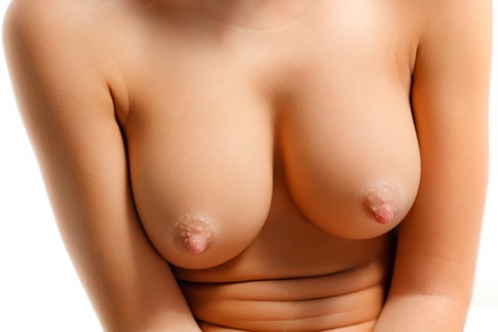 boobs: Close-up of woman breast Stock Photo