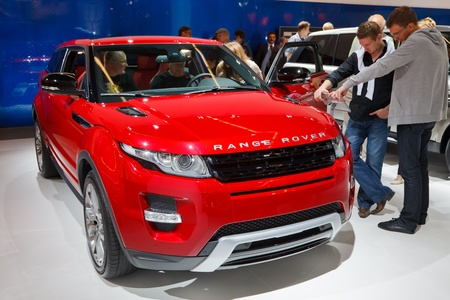 64th iaa: FRANKFURT - SEP 17: Range Rover Evoque Coupe car shown at the 64th Internationale Automobil Ausstellung (IAA) on September 17, 2011 in Frankfurt, Germany.