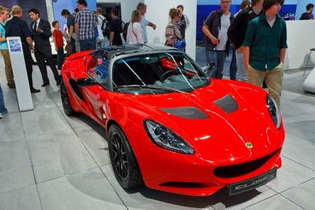 FRANKFURT - SEP 17: Lotus Elise S Sport car shown at the 64th Internationale Automobil Ausstellung (IAA) on September 17, 2011 in Frankfurt, Germany. Stock Photo - 10592518