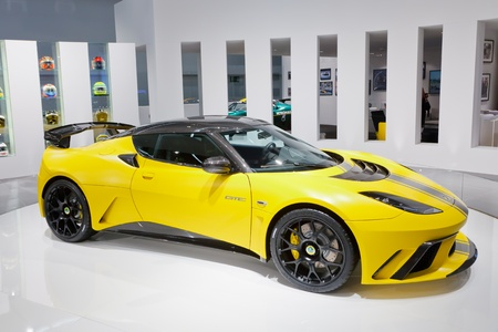 iaa: FRANKFURT - SEP 17: Lotus Evora GTE Sport car shown at the 64th Internationale Automobil Ausstellung (IAA) on September 17, 2011 in Frankfurt, Germany.