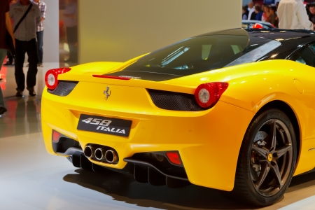 iaa: FRANKFURT - SEP 17: Ferrari 458 Italia sport car shown at the 64th Internationale Automobil Ausstellung (IAA) on September 17, 2011 in Frankfurt, Germany. Editorial