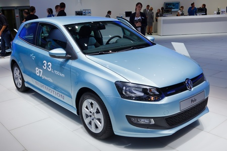 iaa: FRANKFURT - SEP 17: Volkswagen Polo car shown at the 64th Internationale Automobil Ausstellung (IAA) on September 17, 2011 in Frankfurt, Germany.