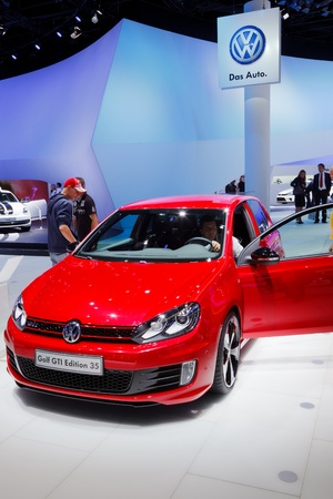iaa: FRANKFURT - SEP 17: Volkswagen Golf GTI concept car shown at the 64th Internationale Automobil Ausstellung (IAA) on September 17, 2011 in Frankfurt, Germany.