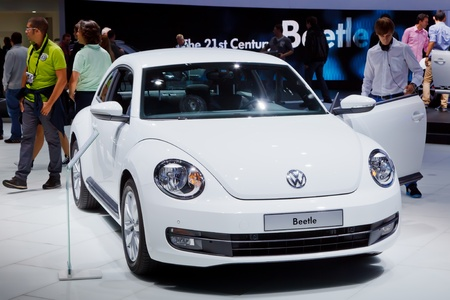 iaa: FRANKFURT - SEP 17: Volkswagen Beetle car shown at the 64th Internationale Automobil Ausstellung (IAA) on September 17, 2011 in Frankfurt, Germany.
