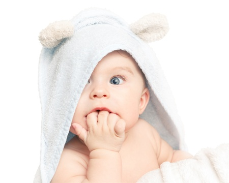 little girl surprised: Cute baby Stock Photo